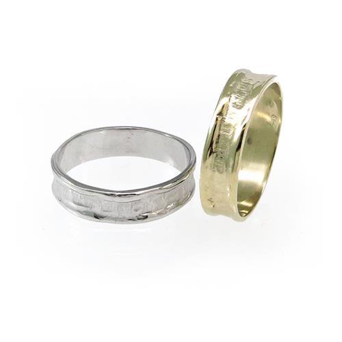 טבעת נישואין ריקועי זהב - WR475