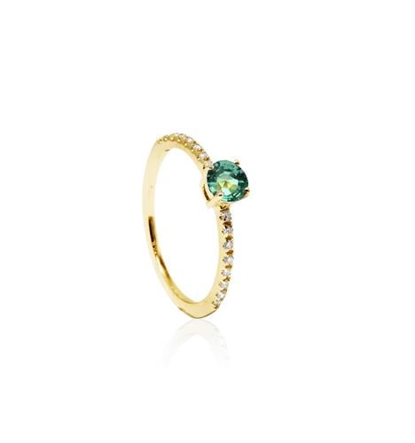 טבעת זהב ויהלומים עם אבן חן