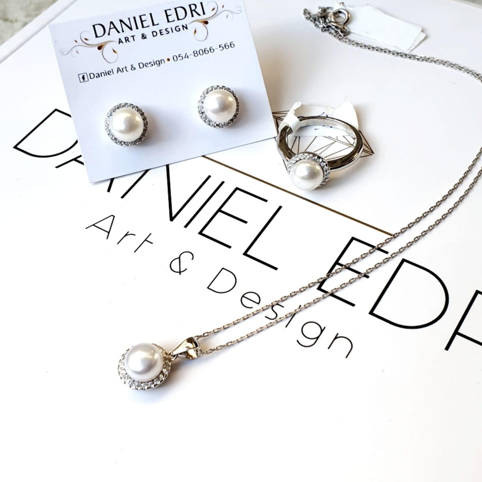 סט פנינים משובץ- שרשרת, טבעת ועגילים