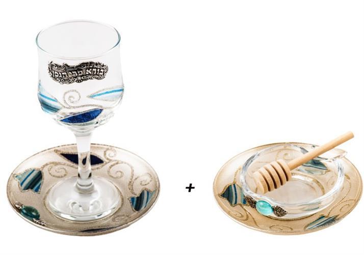 סט כלי דבש + גביע דגם טוליפ כחול