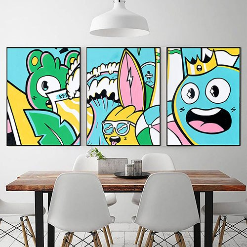 סט תמונות צבעוניות להלבשת חדר ילדים של האמן כפיר תג'ר