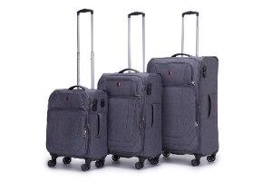 """מזוודה גדולה 28"""" SWISS ALPS בד קלה וסופר איכותית - צבע אפור"""