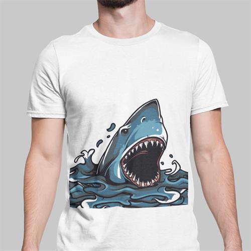 חולצת טי עם הדפס כריש