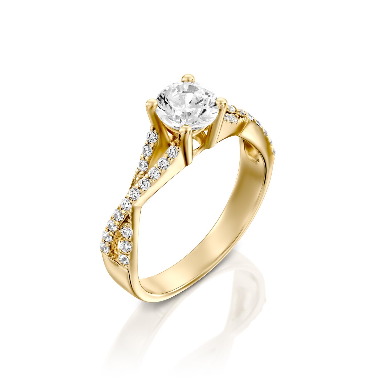 טבעת אירוסין זהב צהוב 14 קראט משובצת יהלומים INFINITY