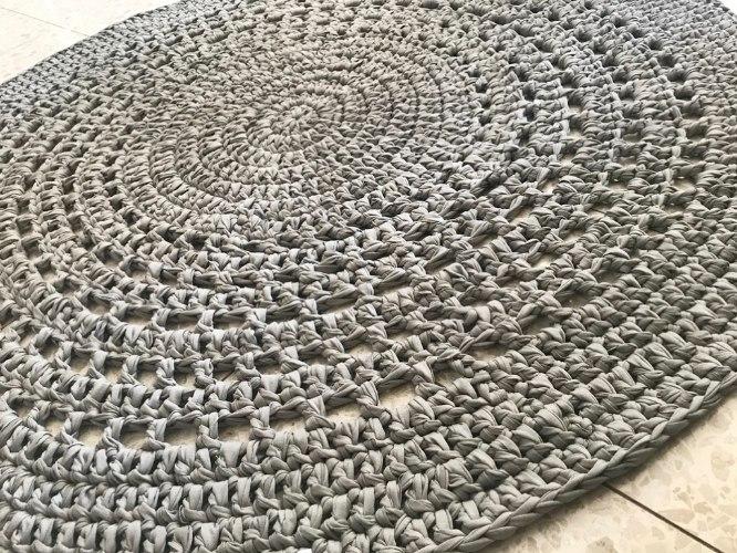 שטיח סרוג, שטיח עגול סרוג בעבודת יד, שטיח סרוג דוגמת תחרה, שטיח סרוג דוגמת רטרו, שטיחים סרוגים