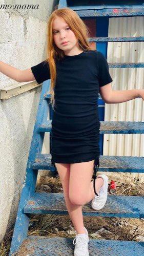 שמלת כיווצים שחור - 2-16