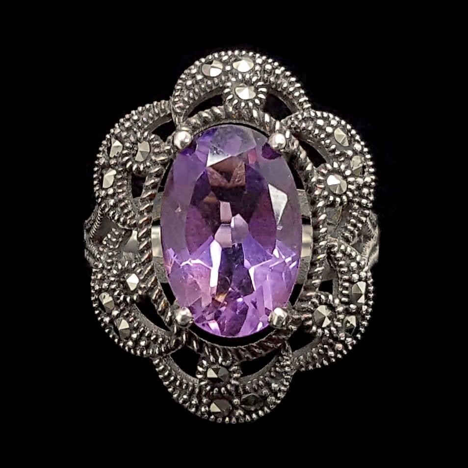 טבעת כסף משובצת מרקזטים ואבן אמטיסט סגולה RG1472   תכשיטי כסף 925   טבעות כסף