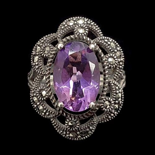 טבעת כסף משובצת מרקזטים ואבן אמטיסט סגולה RG1472 | תכשיטי כסף 925 | טבעות כסף