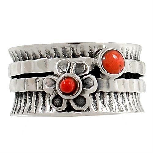טבעת כסף רחבה משובצת קורל אדום  RG5733 | תכשיטי כסף 925 | טבעות כסף