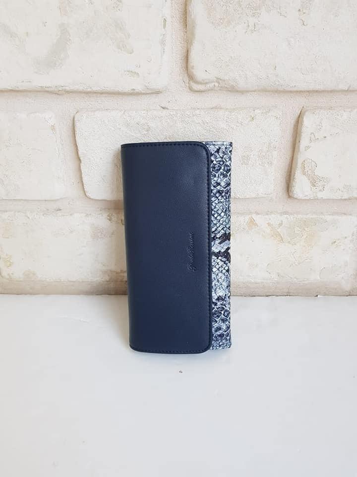 ארנק דמוי עור בינוני כחול מנוחש 4053