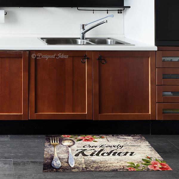 שטיח Our Lovely Kitchen עץ רטרו | שטיחים | פי וי סי | PVC | שטיח למטבח | מטבח | עיצוב מטבחים | מתנות