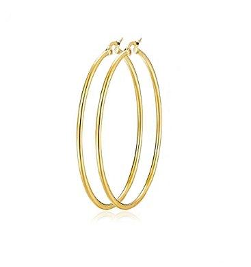 עגילי זהב חישוק לאישה בקוטר 5.5 סמ