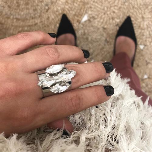 טבעת סאנשיין כסף סברובסקי