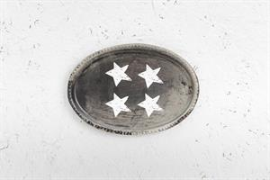 צלחת מתכת אובלית - 4 כוכבים (כסוף-מושחר)