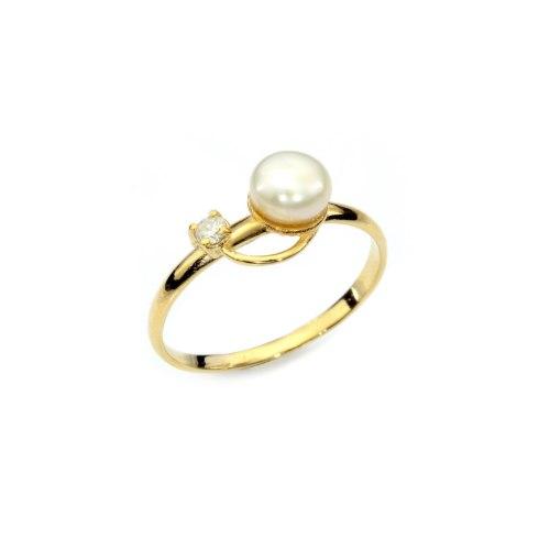 טבעת פנינה ויהלום קלאסית