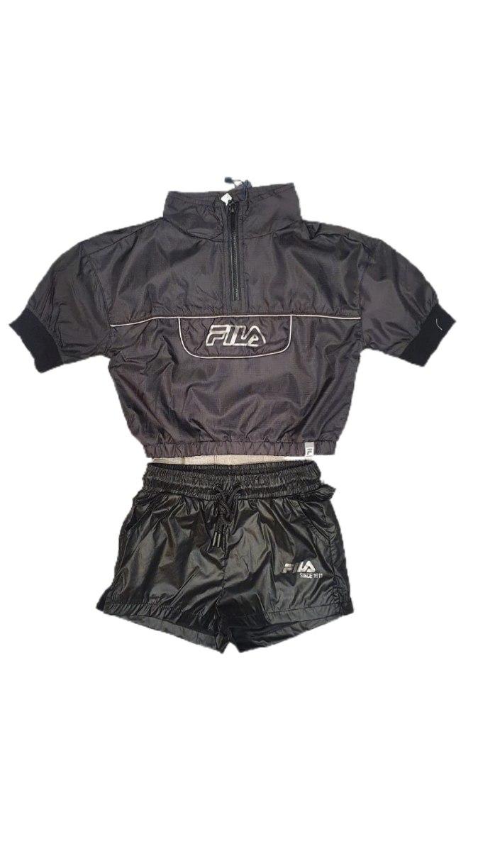 חליפת מכנס ניילון שחורה (6-16)