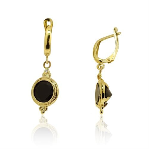 עגילי זהב 14 קרט משובץ אבן אוניקס ויהלומים 0.02 קראט