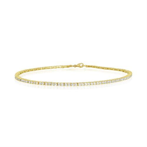 צמיד זהב משובץ זרקונים | צמיד טניס זרקונים | UG63HKRN