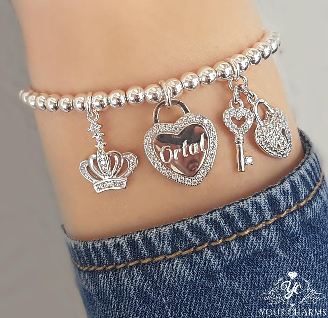 צמיד ליאן - מפתח הלב וכתר - כסף