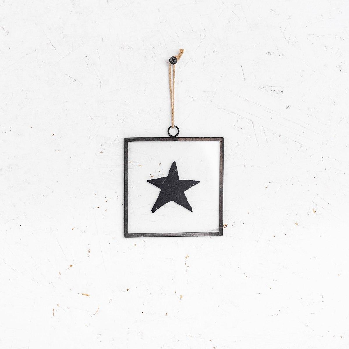שלט זכוכית קטנטן - כוכב (שחור)