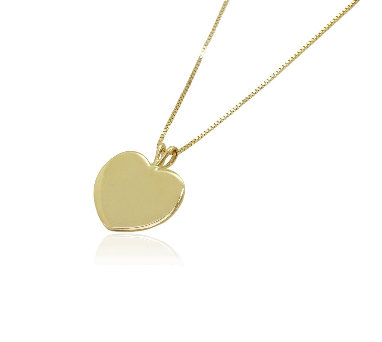 שרשרת ותליון לב זהב לחריטה