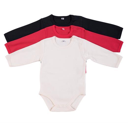 מארז 3 בגדי גוף 9100 שחור - אדום - שמנת פלנל
