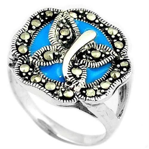 טבעת כסף פרפר משובצת Marcasite ואמייל תכלת RG8506