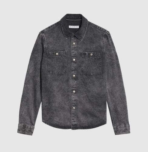 חולצת ג׳ינס שחורה משופשפת, בנים - Calvin Klein - מידות 4 עד 16 שנים