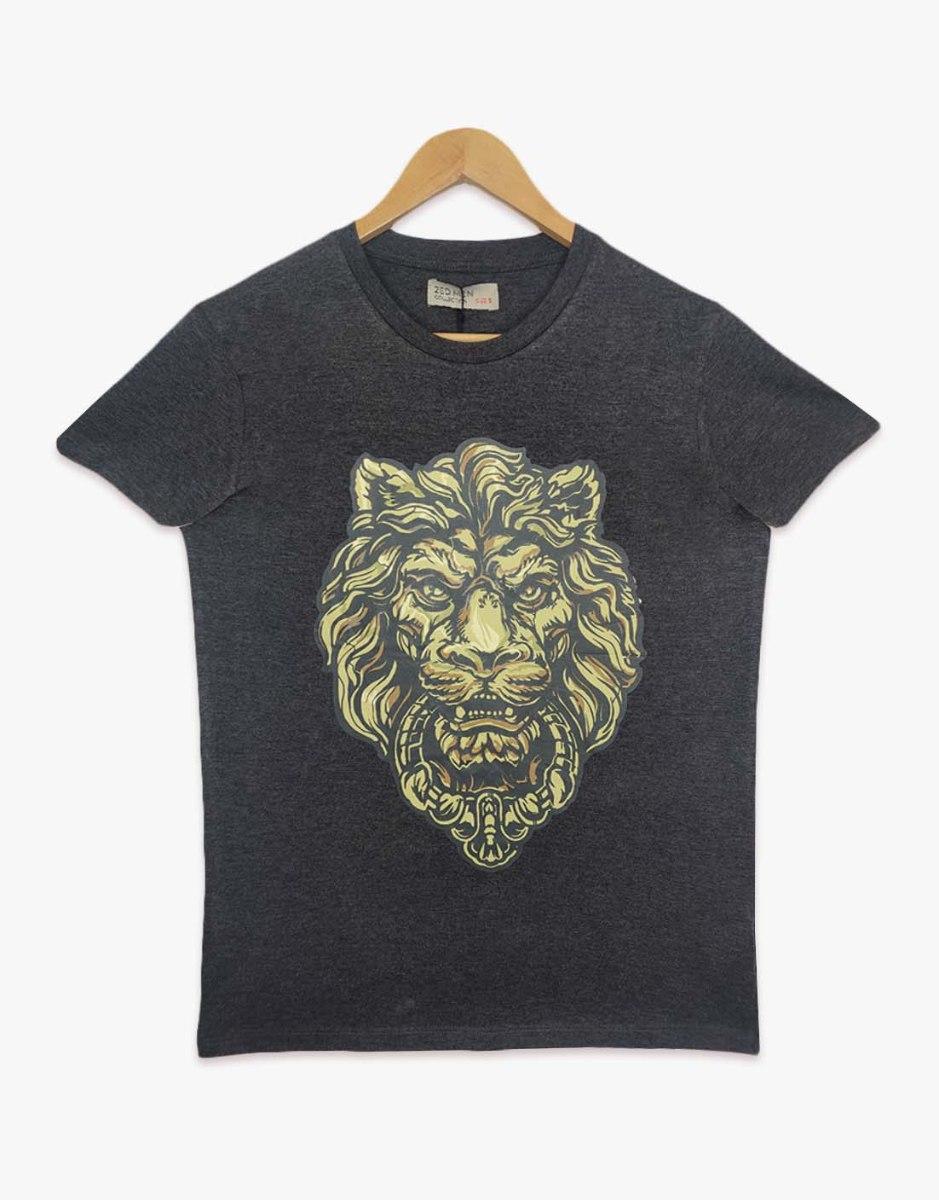 חולצת טריקו גברים מודפס אריה