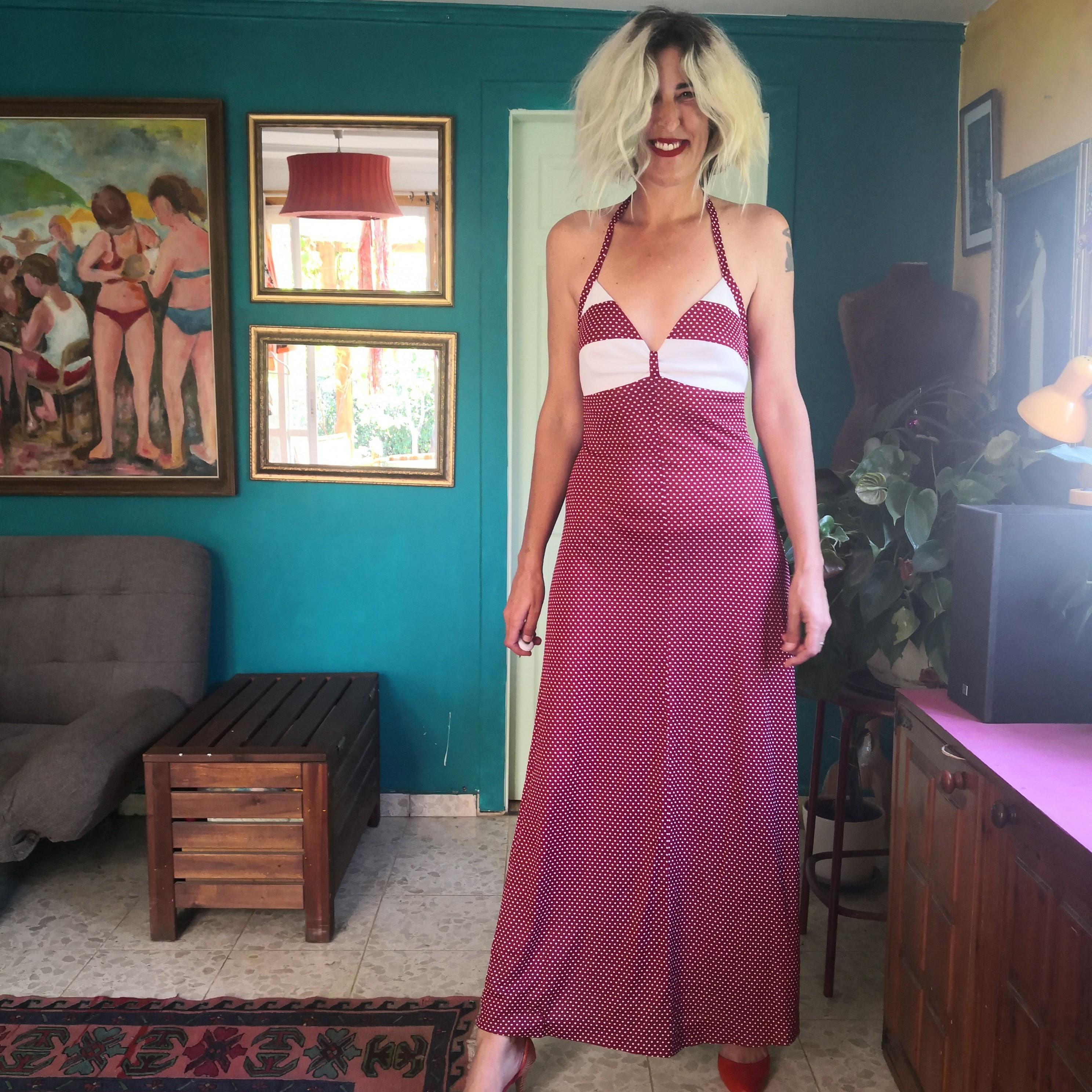 שמלת קולר מקסי מדליקה מידה S-L