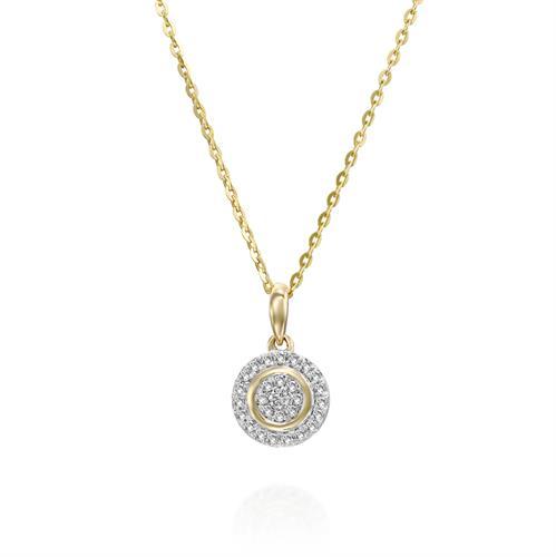 שרשרת ותליון יהלומי האינסוף משובצת יהלומים בזהב לבן או צהוב 14 קראט