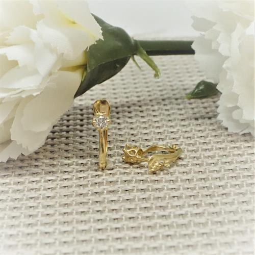 עגילי זהב לילדות עם זרקון