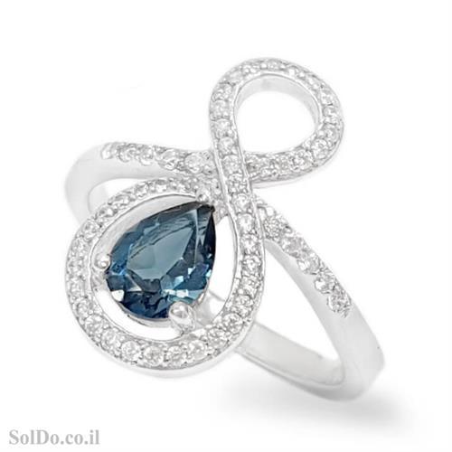 טבעת מכסף משובצת אבן טופז כחולה  וזרקונים RG6140   תכשיטי כסף 925   טבעות כסף