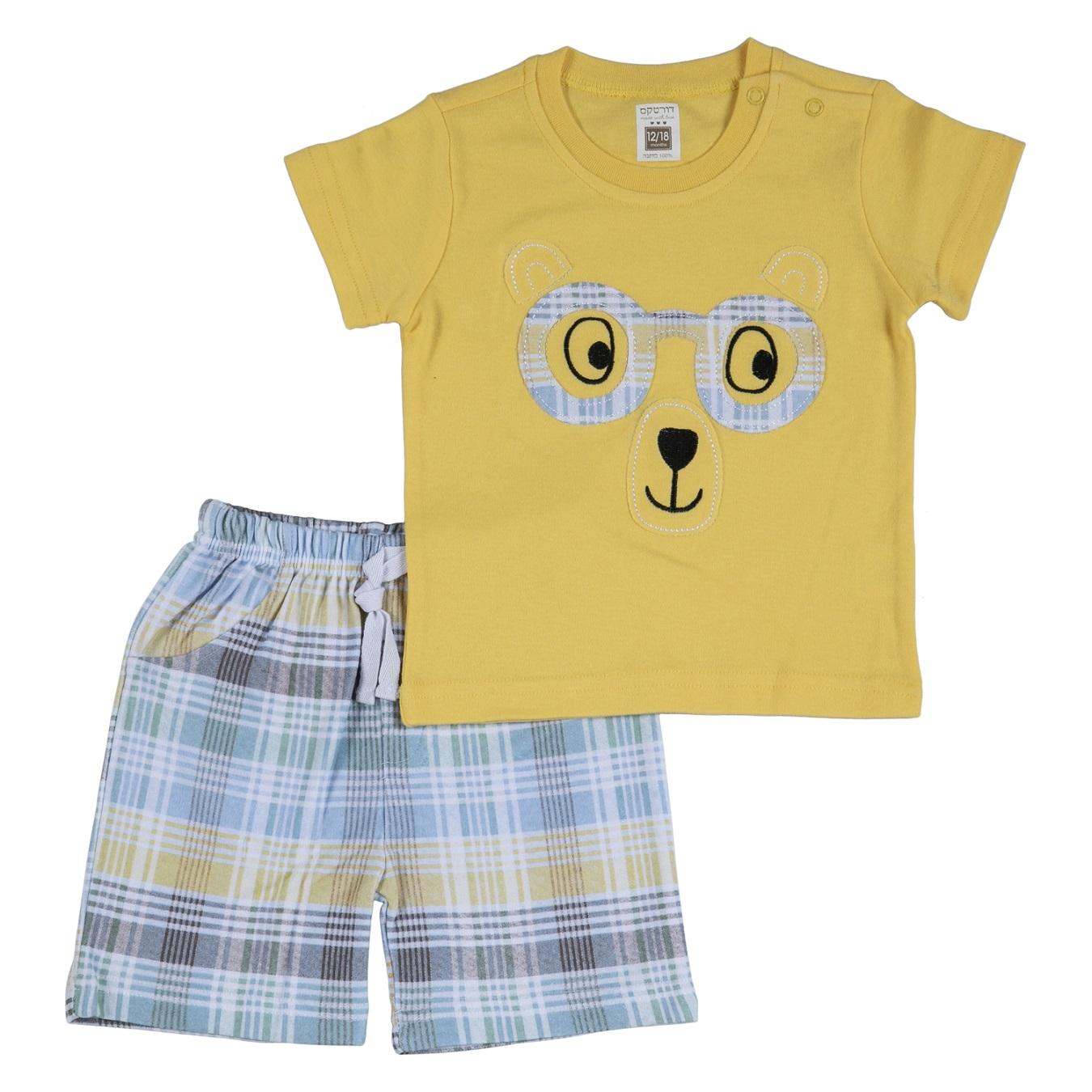 חליפה קצרה הדפס דב צהוב