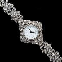 שעון כסף משובץ Marcasite ומעוצב SH3256 | תכשיטי כסף
