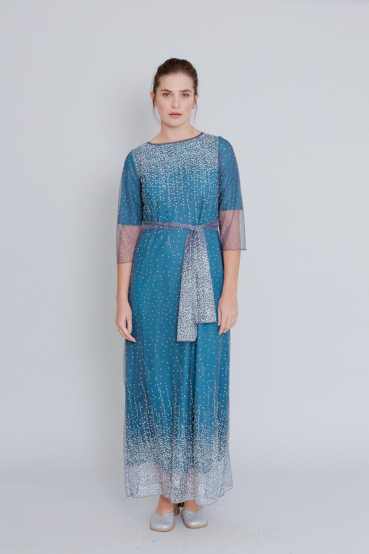 שמלת שלג מקסי אפור טורקיז
