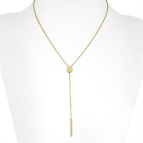 שרשרת עניבה זהב עיגול זרקונים