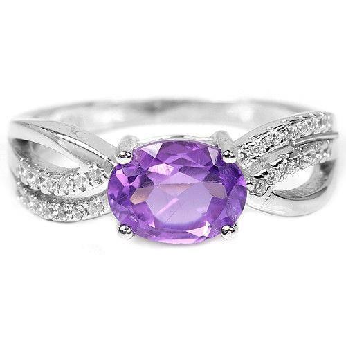 טבעת כסף משובצת אמטיסט סגול וזרקונים RG8350 | תכשיטי כסף 925 | טבעות כסף