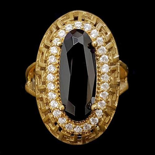 טבעת מכסף משובצת קוורץ שחור ואבני זרקון לבנות  RG5680  | תכשיטי כסף