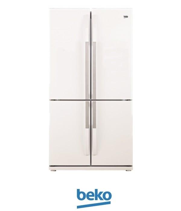 beko מקרר 4 דלתות 552 ליטר דגם GNE-104611-9003 ציפוי זכוכית לבן מתצוגה !