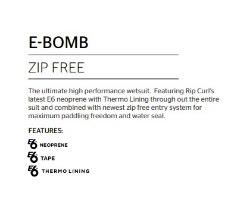 RIP CURL E-Bomb 3/2 Zip Free Wetsuit