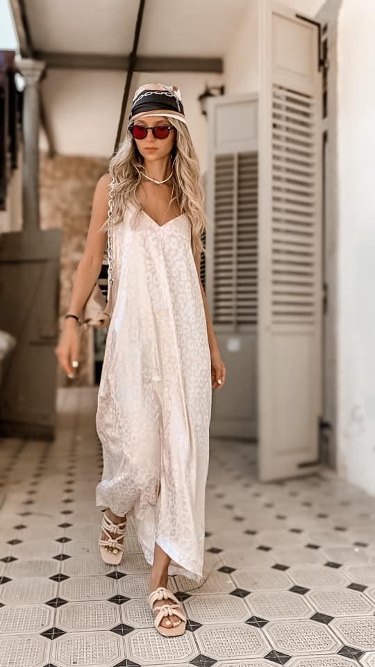 שמלת מקסי שמנת מנומר