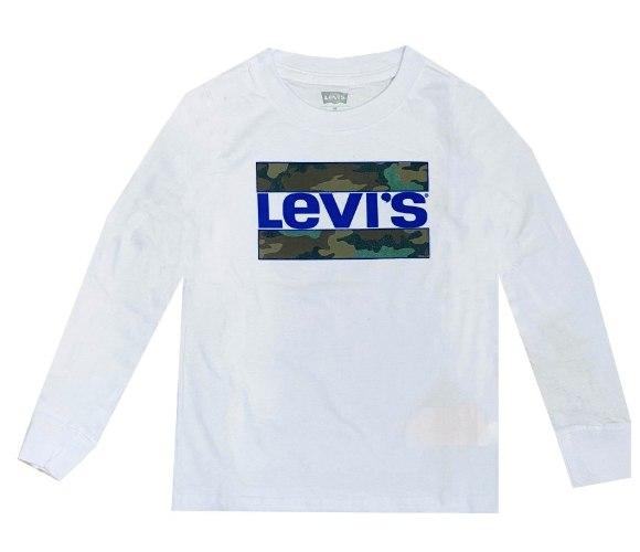 טי שירט LEVIS לבנה לוגו כחול צבאי - מידות שנה ועד 15 שנים