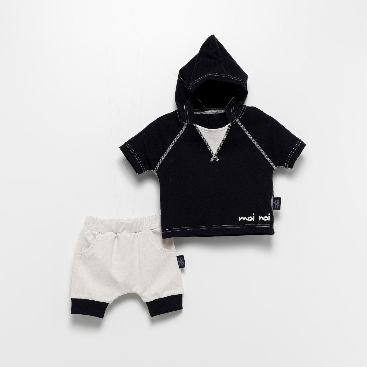 חליפת קפוצ׳ון שחורה MOI NOI מידות - 6-24 חודשים