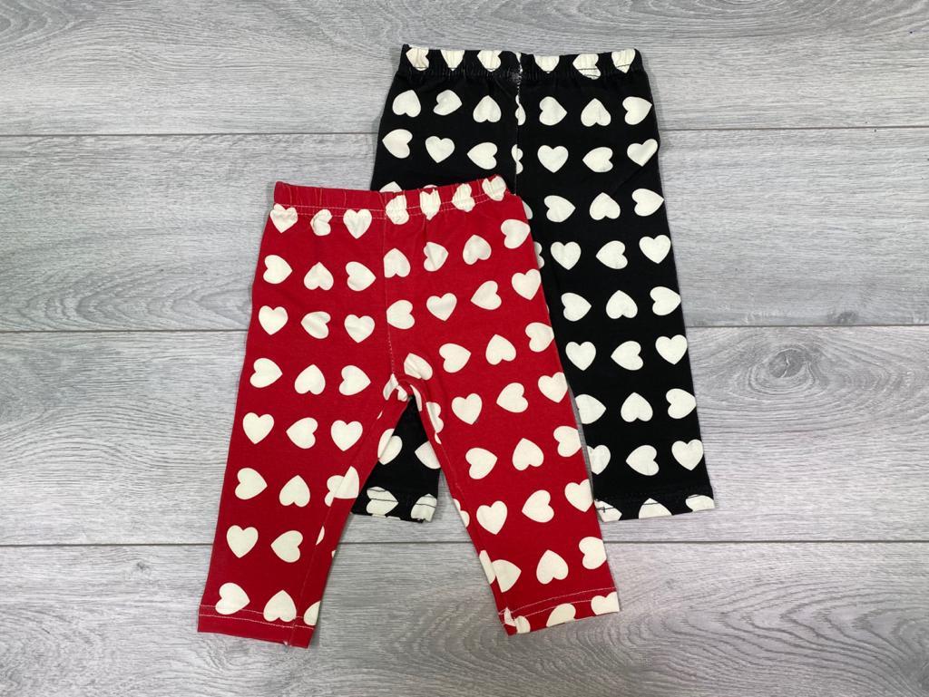 זוג מכנסי לייקרה לבבות שחור ואדום