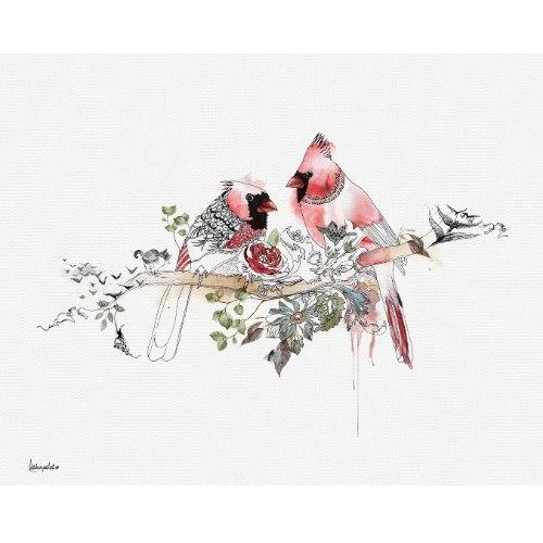 ציור של זוג ציפורים אדומות