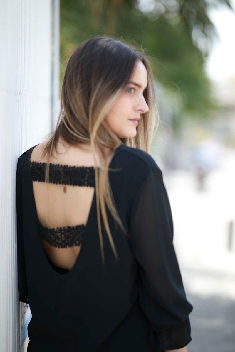חולצת שיפון גב פתוח פסים