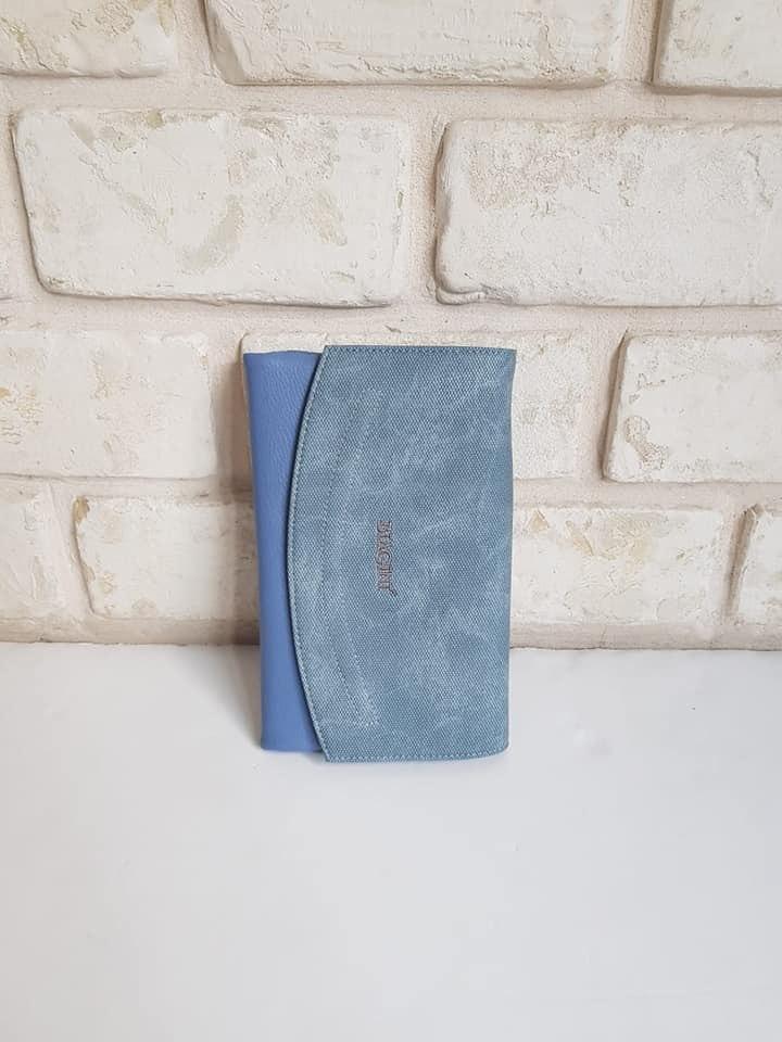 ארנק דמוי עור גדול כחול 4038