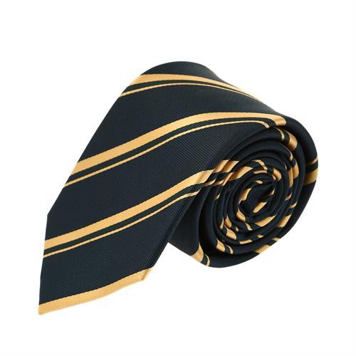 עניבה פסים קלאסית צהוב שחור
