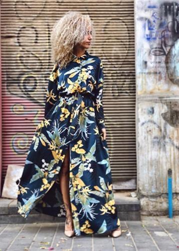 שמלת אן כחול פרחוני